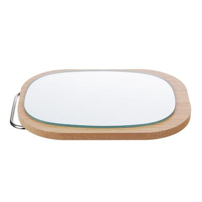 347-090 Зеркало настольное, МДФ, стекло, металл, 14,5х17,5см, 4 цвета, ЗН19-4
