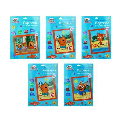285-158 ХОББИХИТ Картина из пластилина, «Три кота», основа-картон, 21х27см, 4-5 дизайнов