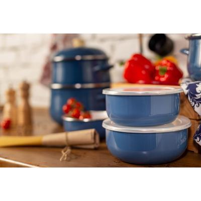 894-476 Набор эмалированных салатников с крышками VETTA Глянец, 3 предмета: 14/16/18см, 0,7/1,1/1,4л, синий