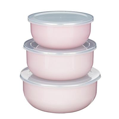 894-477 Набор салатниковс крышками VETTA Глянец, 6 предметов, эмалированные, розовый