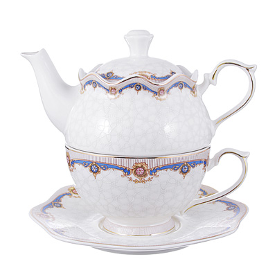 802-221 Чайный сервиз MILLIMI Мозаика (чайник, чашка, блюдце) костяной фарфор