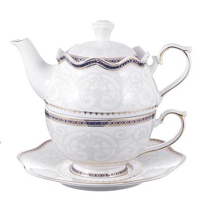 802-222 Чайный сервиз MILLIMI Кружево (чайник, чашка, блюдце) костяной фарфор