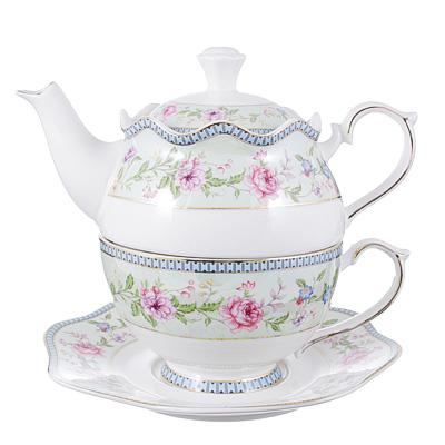 802-223 Чайный сервиз MILLIMI Дуэт (чайник, чашка, блюдце) костяной фарфор