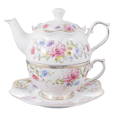 802-224 Чайный сервиз MILLIMI Азалия (чайник, чашка, блюдце) костяной фарфор