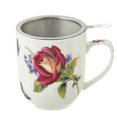 802-236 Чайный сервиз MILLIMI Коппелия (кружка, ситечко, ложка, крышка), костяной фарфор