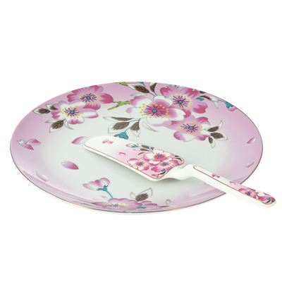 802-256 Набор для торта 2 предмета (блюдо, лопатка), фарфор
