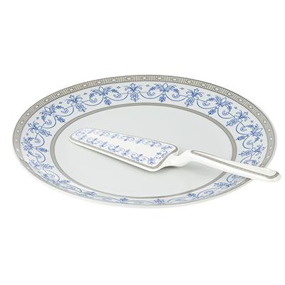 802-262 Набор для торта 2 предмета Сальса (блюдо, лопатка), фарфор