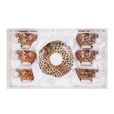 802-341 Чайный сервиз 12 предметов MILLIMI Леопард 220мл, костяной фарфор