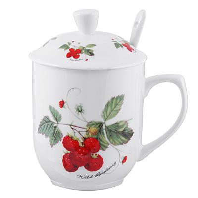 802-355 Чайный сервиз MILLIMI Земляника (кружка, ситечко, ложка, крышка), костяной фарфор