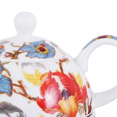 802-408 Чайный сервиз MILLIMI Ботаника (чайник, чашка, блюдце) костяной фарфор