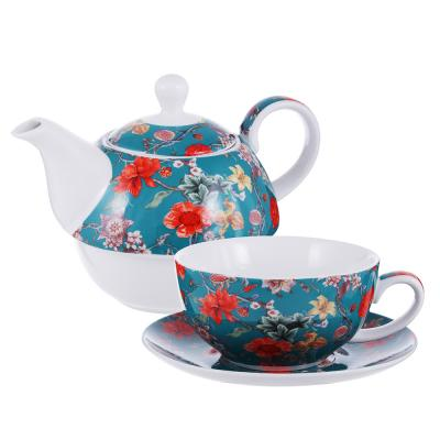 802-415 Чайный сервиз MILLIMI Ботаника аквамарин (чайник, чашка, блюдце) костяной фарфор