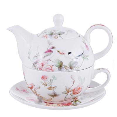 802-424 Чайный сервиз MILLIMI Ангела (чайник, чашка, блюдце) костяной фарфор