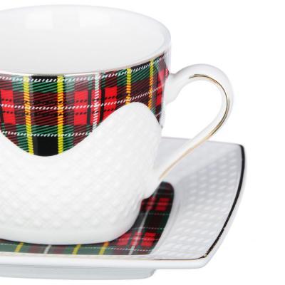 802-425 Набор кофейный 4 предмета MILLIMI Шотландка 130мл, костяной фарфор