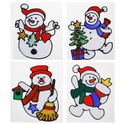 336-325 СНОУ БУМ Наклейка ПВХ  с изображением Снеговика, Деда Мороза и ёлки, 18х25см,16 дизайнов