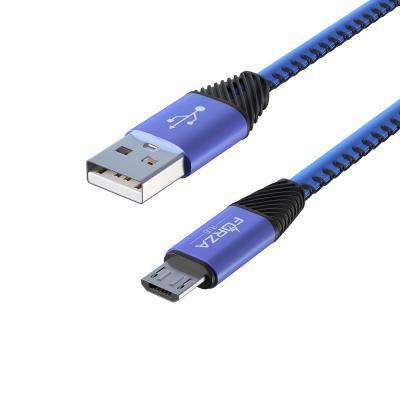 443-010 Кабель для зарядки FORZA Премиум, Micro USB, 1м, 2А, кожаная оплетка, 5 цветов