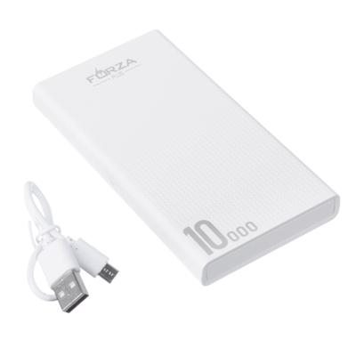 916-208 Аккумулятор мобильный FORZA 10000мАч, 2 USB, 2A, фонарик, 13x7x1,5см, пластик, 2 цвета