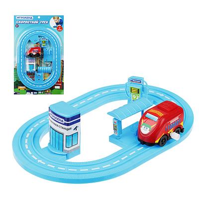276-088 ИГРОЛЕНД Автотрек с машинкой и зданием, пластик, 30х18,5х3см, 6 дизайнов