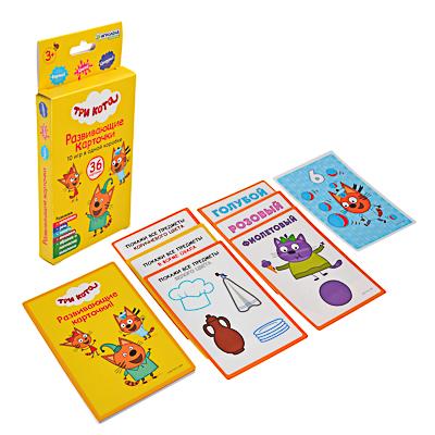 "857-111 ИГРОЛЕНД Карточки развивающие ""Три кота"" 36 шт, картон, 16х8х2см"