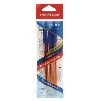 "627-047 Erich Krause Набор ручек шариковых синих ""R-301 Amber Stick"", 3шт, пластик, 42738"