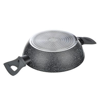 846-509 SATOSHI Труа Набор 4пр. Сковорода, сотейник, кастрюля d=24см, крышка, антипригарное покрытие мрамор