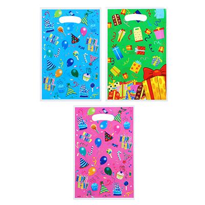 505-034 Пакет ПВХ цветной, 17х25 см, рисунок подарки, 3 цвета