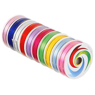 505-038 Лента подарочная, декоративная, 1,8 см х 8 м, пластик, 10 цветов, с золотыми полосками