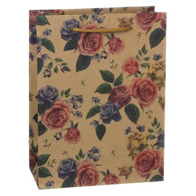505-069 Пакет подарочный бумажный, крафт, 18х24х8,5 см, с цветами, 3 дизайна