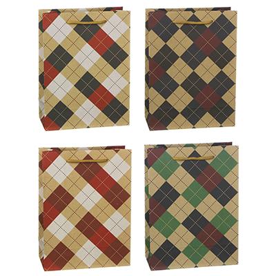505-070 Пакет подарочный бумажный, крафт, 18х24х8,5 см, клеточный узор, 4 дизайна