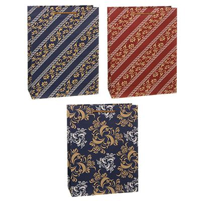505-071 Пакет подарочный бумажный, крафт, 23,5х31,5х8,5  см, с орнаментами, 3 дизайна