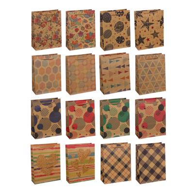 505-074 Пакет подарочный бумажный, крафт, 18х24х8,5 см, 4 дизайна