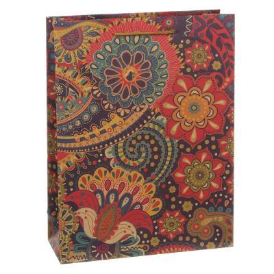 505-075 Пакет подарочный бумажный, крафт, 23,5х31,5х8,5 см, 3 дизайна, узоры