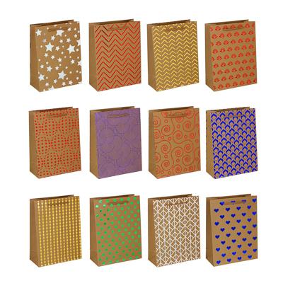 505-082 Пакет подарочный бумажный, крафт, 18х24х8,5 см, с блестящим слоем, 12 дизайнов