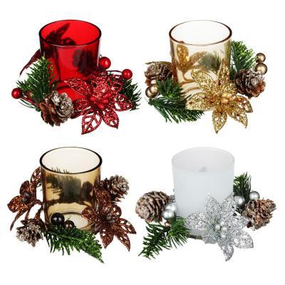 477-026 Подсвечник с декором шишки, в подарочной упаковке, стекло, 11,3x11,3x7,5см, 4 цвета