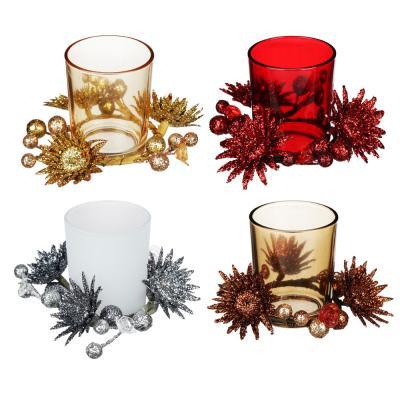 477-027 Подсвечник с декором цветы, в подарочной упаковке, стекло, 11,3x11,3x7,5см, 4 цвета