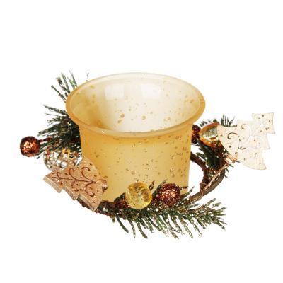 477-028 Подсвечник с декором, в подарочной упаковке, матовое стекло с глиттером, 11,3x11,3x5,5см, 1 цвет