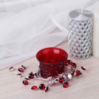 477-032 Подсвечник с лепестками в подарочной упаковке, матовое стекло с глиттером, 11,3x11,3x5,5см, 1 цвет