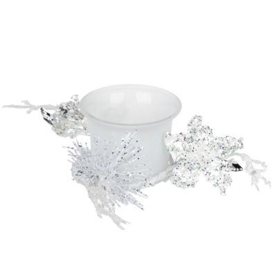 477-033 Подсвечник с блестящим декором, в подарочной упаковке, матовое стекло, 11,3x11,3x5,5см, 1 цвет