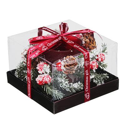 477-034 Подсвечник с надписью в подарочной упаковке, матовое стекло, 11,3x11,3x7,5см, 1 цвет
