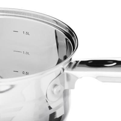 822-170 SATOSHI Рокруа Ковш 16х10,5см 1,9л, со стекл. крышкой, индукция, нерж. сталь