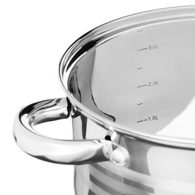 822-189 SATOSHI Рокруа Кастрюля 20х12,5см 3,7л, со стекл. крышкой, индукция, нерж. сталь