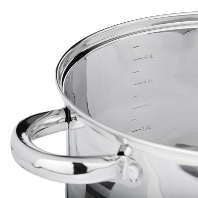 822-190 SATOSHI Рокруа Кастрюля 24х14,5см 6,2л, со стекл. крышкой, индукция, нерж. сталь