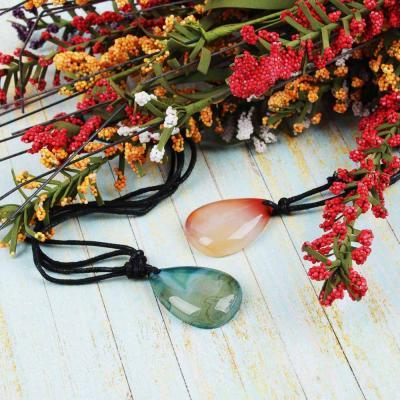 349-573 BERIOTTI Стихия Огонь Подвеска из натурального камня, полиэстер, 40-70 см, 2 цвета