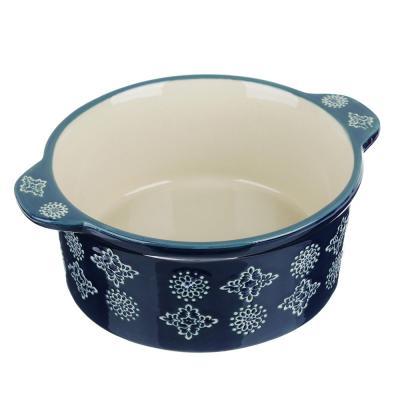 826-288 MILLIMI Горшочек с крышкой для запекания и сервировки, керамика, 16,5х13,5х10см, 480мл, синий