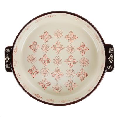 826-293 MILLIMI Форма для запекания и сервировки круглая с ручками, керамика, 25,5х22,5х5см, 1200мл, красн.