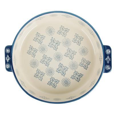 826-294 MILLIMI Форма для запекания и сервировки круглая с ручками, керамика, 25,5х22,5х5см, 1200мл, серый