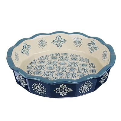826-295 MILLIMI Форма для запекания и сервировки круглая, керамика, 22х4,5см, 850мл, синий