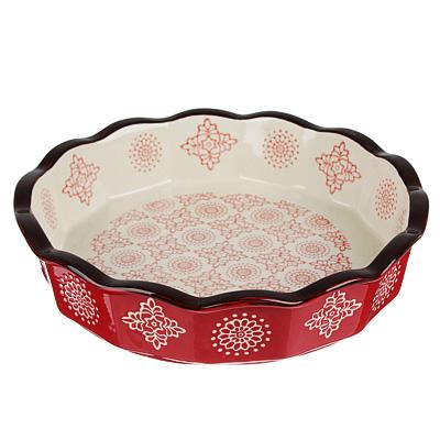 826-296 MILLIMI Форма для запекания и сервировки круглая, керамика, 22х4,5см, 850мл, красн.
