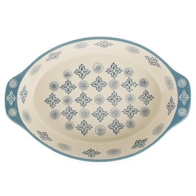 826-304 MILLIMI Форма для запекания и сервировки овальная с ручками, керамика, 31х20,5х6см, 1500мл, синий