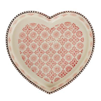 826-308 MILLIMI Форма для запекания и сервировки, сердце, керамика, 24х25,5х3,5см, 850мл, красн