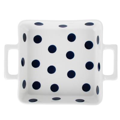 826-312 MILLIMI Синий горох Форма для запек. и сервировки квадр. с ручками, 800мл, 23,5х17,5х5см, керамика